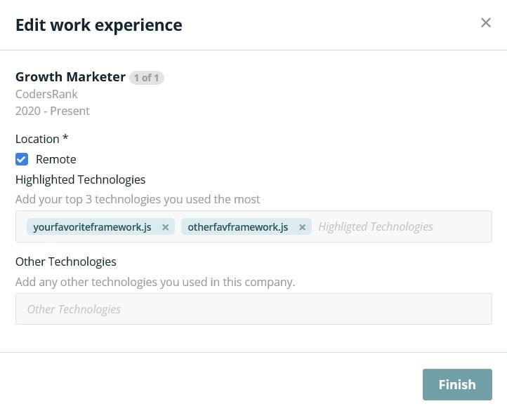 screenshot of codersrank linkedin integration step 3