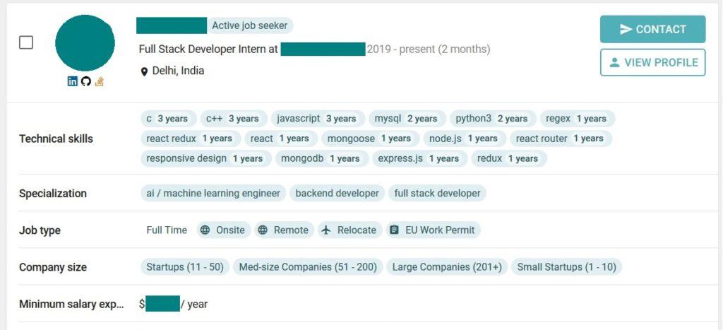 full stack developer in india profile snapshot