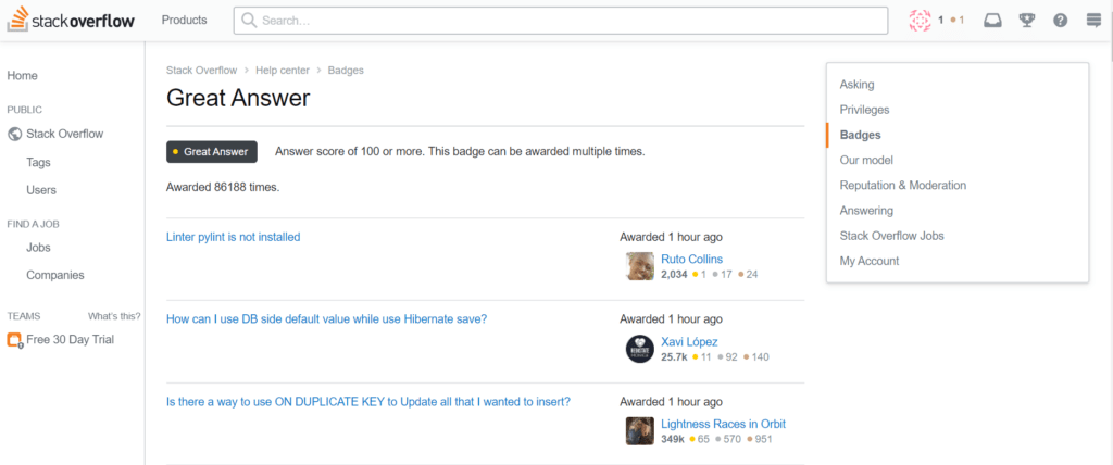 screenshot of stack overflow