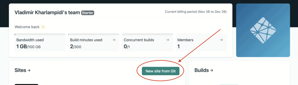 new site from git on netlify