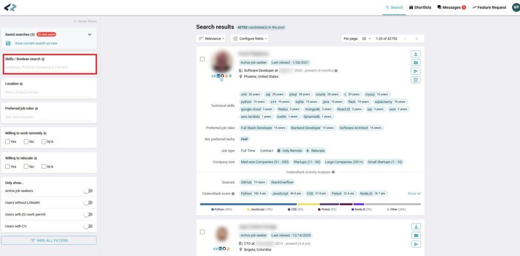 codersrank boolean search