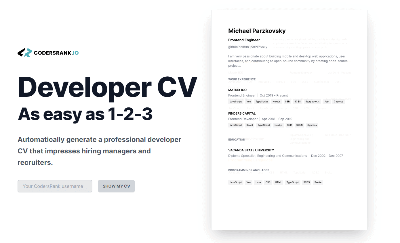How to Create a Killer Developer CV with CodersRank's CV Generator