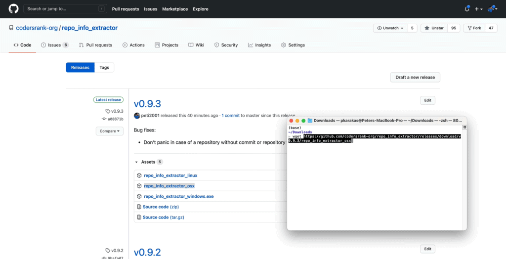 Downloading the latest version of the repo_info_extractor from CodersRank's GitHub